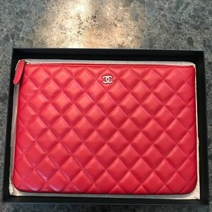 Chanel large red caviar clutch